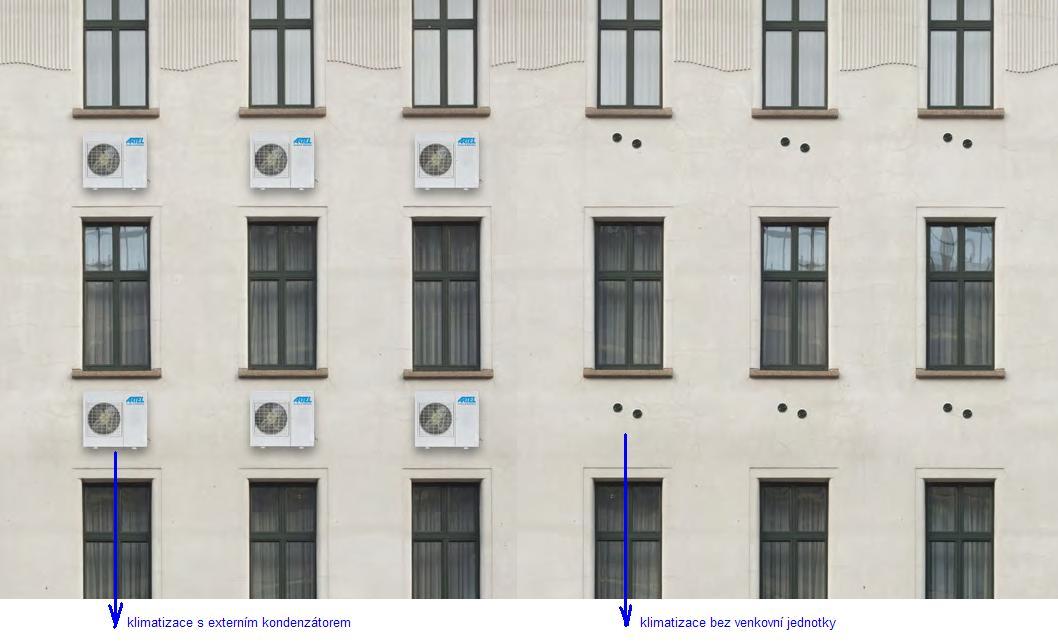 klimatizace bez venkovní jednotky-pohled z exteriéruna